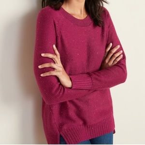 Speckled Boat Neck Tunic Sweater